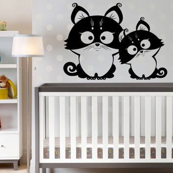 Two Funny Owls Cute Wall Sticker Baby Nursery Room Home Art Decor Animal Series Wall Mural Vinyl Removable Decals D-287