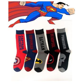 Deadpool Dead pool Taco 2017 Newest Men Long Cotton Socks Superman Batman Captain America Skull Classic Superhero Man Stocking Hot Sale AT_70_6