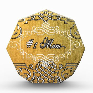 #1 mom Golden typography mother's day Award