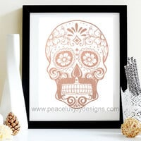 Rose Gold Foil Sugar Skull, Day Of The Day, Dia De Los Muertos, Sugar Skull, Halloween Printable, Blush Gold Foil, Home Decor, Dorm Decor