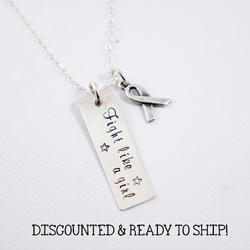 """""""Fight like a girl"""" - Sterling Silver Charm - DISCOUNTED AND READY TO SHIP"""