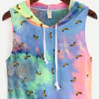 Hooded Banana Print Tie-Dye Tank Top