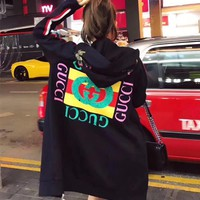 """Gucci"" Women Flower Embroidery Letter Pattern Print Hooded Long Sleeve Zip Cardigan Sweater Medium Long Section Coat"
