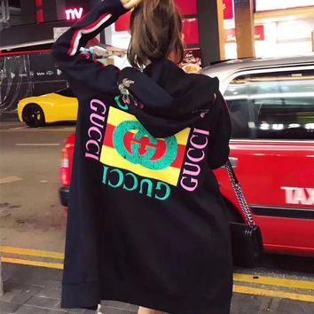 """""""Gucci"""" Women Flower Embroidery Letter Pattern Print Hooded Long Sleeve Zip Cardigan Sweater Medium Long Section Coat"""