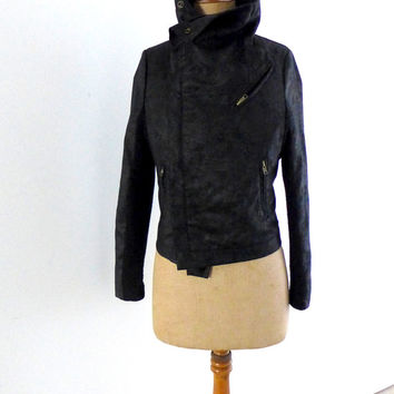 Vintage black wool and fabric biker style moto short jacket Sz S