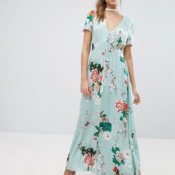 Boohoo Floral Detail Button Maxi Dress at asos.com