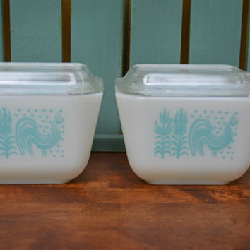 Turquoise Pyrex Dishes,  Original 1950's Glass Pyrex Amish Butterprint, Refrigerator storage, kitchen Covered Dis