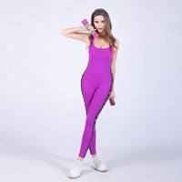 ONETOW High Quality  Fitness Jumpsuit Sporting Acrylic Patchwork Bodysuit cross straps back  Playsuit Women Macacao Purple And Gray