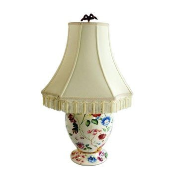Pre-owned Colorful Floral Table Lamp With Fringe Shade