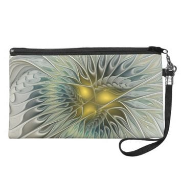 Golden Flower Fantasy, abstract Fractal Art Wristlet