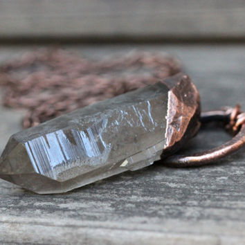 Smoky Quartz Crystal Necklace Raw Crystal Necklace Bohemian Necklace Boho Jewelry Big Crystal Necklace Gemstone Necklace Crystal Necklace