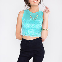 Helena Lace Crop Top -  Teal