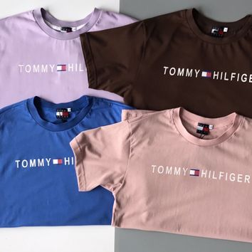 Tommy Hilfiger Top Women Men Tee Shirt Small Word B-MG-FSSH Frou Color