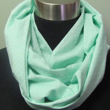 Mint Seafoam with White Dots Infinity Scarf