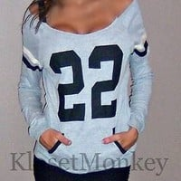 SEXY GRAY BLACK SPORT FOOTBALL OFF THE SHOULDER SWEAT SHIRT KNIT TOP #22 M
