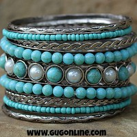 Silver, Turquoise and Pearl Bangle Set