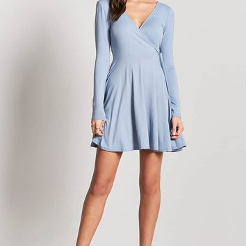Surplice Self-Tie Dress