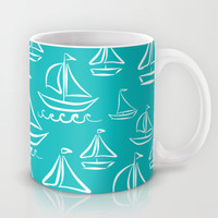 Sail Away Turquoise Mug by Lisa Argyropoulos