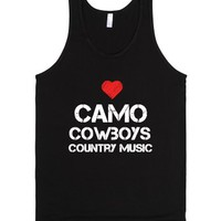 camo, cowboys, and country music-Unisex Black Tank