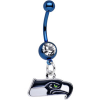 Officially Licensed NFL Clear Gem Seattle Seahawks Dangle Belly Ring | Body Candy Body Jewelry