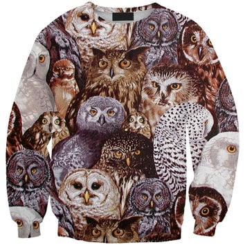 Long Sleeve Pattern Pullover Owl Women's Fashion Print Cats Hoodies = 4817300548
