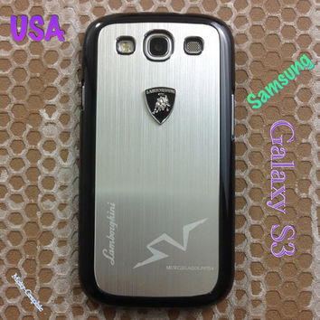 Lamborghini Samsung Galaxy S3 Case Lambo 3D Metal Logo with Cover for S3 / i9300 - F1 Silver