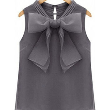 Organza Bow Collar Sleeveless Chiffon Top