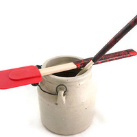 Wooden spoon and silicone spatula set with decorative handles