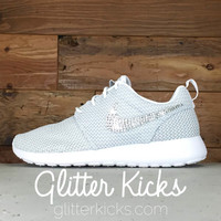 Nike Roshe One Customized by Glitter Kicks - WHITE/GRAY/METALLIC PLATINUM
