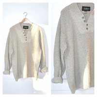 90s MINIMAL tan knit sweater / early 1990s GRUNGE Eddie Bauer pull over CABLE knit sweater medium large