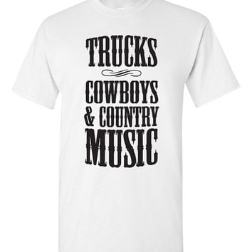 Trucks, Cowboys & Country Music Tshirt. Southern girl tshirt. southern girl love. south pride. southern girlfriend. country tee. TH-108Blk