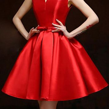 Red Pleated Bow Backless Lace-up V-neck Sleeveless Fashion Homecoming Midi Dress