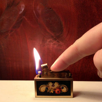 Quaint Brass and Fabric Floral  Lighter by Gold Tone