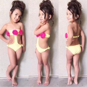 Childrens Swimsuit Cute 2~6years Baby Kids Girls Flower  Swimwear Bathing Suit One Piece Clothes Outfits 2018 New Summer Children Swimwear KO_25_2