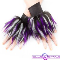 Clubstyle Monster Black, White, and Purple Wrist Cuffs : Quality Fluffy Wrist Cuffs