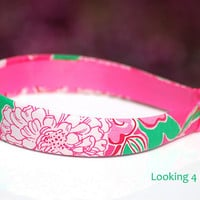 Lilly Pulitzer Fabric Headband Womens Headband Preppy Lilly Pulitzer Pattern Pink and Green Mayflower