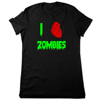 I Love Zombies TShirt, Horror Shirt, Geek, Zombie T Shirt, Horror Tshirt, Horror T Shirt, Funny Tee, Geeky Tshirt, Ladies Women Plus Size