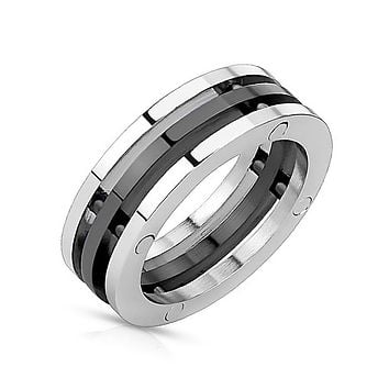 Black Trinity - Industrial Style Triple Bolted Combination Black and Stainless Steel Ring