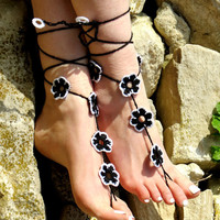 Crochet Barefoot Sandals, Flower Sandles, Black White Nude Summer Shoes, Beach Lace Up Foot Jewelry, Gothic Bohemian Hippie Sandals, Anklets