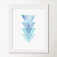 Geometric wall art, Abstract print, Modern Printable art, Sky blue decor, Triangles art, Modern art print, Digital Printable wall art print