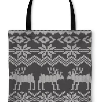 Tote Bag, Knitted Swatch With Deers And Snowflakes Pattern