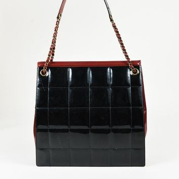 """Chanel Black Red """"Square Quilt"""" Patent Leather Chain Link Shoulder Bag"""