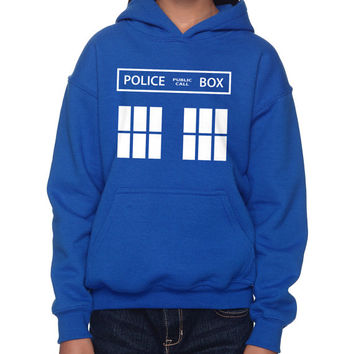 "Dr. Who ""Tardis"" Children's Hoodie (SM-XL)"