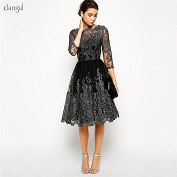 Dangal Corsetted Party Dress Wedding Guest Dress Eveving Party Lace Midi Dress With Embroidery Black Sleeve Night Dress