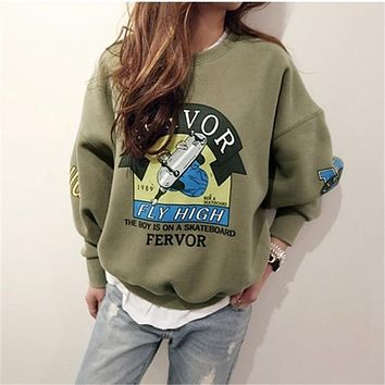 Funny Cartoon Tracksuit for Women Pullover Fleece Loose