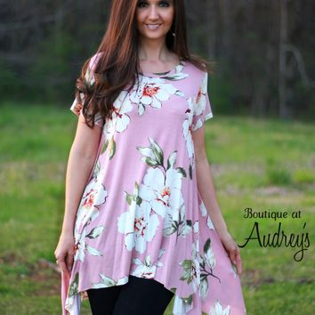 Short Sleeve Blush Knit Top with Asymmetrical Hem and Big Floral Print