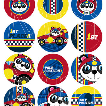 Cute Cartoon Animal Racing Car Driver Cupcake Toppers - Use as Stickers, Birthday Tags or Labels for your Little Racers Party
