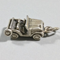 Vintage Sterling Silver Charm Jeep Jungle Safari Vehicle Fun Detail Charm Bracelet Charm or Necklace Pendant