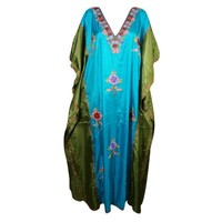 Mogul Womens Designer Maxi Kimono Kaftan Double Shaded Ethnic Floral Embroidered Kashmiri Caftan Lounge Wear Beach Cover Up Long Dress Resort Wear Christmas Gift - Walmart.com