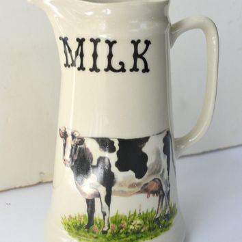 Vintage 20th C Pure Milk Ironstone Advertising Dairy Pitcher with Cows / Cattle